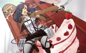 Картинка девушка, торт, сабля
