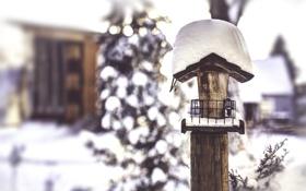 Обои скворечник, зима, снег, домик