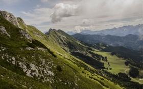 Картинка облака, долина, небо, луг, mountains, вершины, деревья