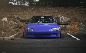 Картинка Purple, Honda Civic, цивик, stance. хонда