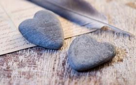 Картинка письмо, любовь, синий, бумага, камни, перо, настроения