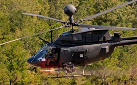Обои OH-58, Army, fire, Bell, Minigun, helicopter, M134