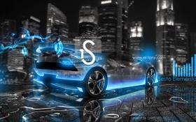Обои lamborghini, sesto elemento, neon, city, blue, car, el tony cars