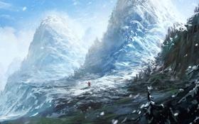 Картинка зима, человек, гора, арт