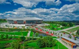 Обои парк, футбол, стадион, Донбасс Арена, Donbass Arena, шахтёр