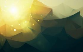 Обои солнце, путь, одиночество, пустыня, треугольники, геометрия