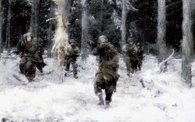 Обои зима, лес, снег, атака, рисунок, бой, Солдаты