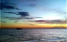 Картинка море, волны, небо, закат, скала, вечер, горизонт