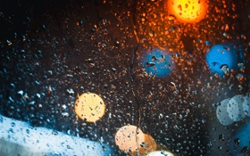 Обои капли, bokeh, фото, ночь, улица, боке, дождь