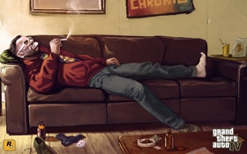 Картинка травка, Джейкоб, gta 4, курит, Grand Theft Auto IV, дым, диван