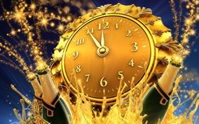 Картинка часы, новый год, Праздник, шампанское