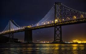 Картинка ночь, мост, город, огни, река, San Francisco, USА