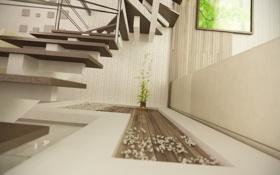 Обои комната, растение, арт, лестница, ступеньки, рендер, декор