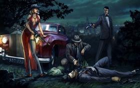 Обои машина, девушка, ночь, оружие, мужики, мафия, Mafia