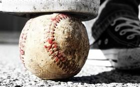 Картинка мяч, обувь, бейсбол, кроссовки, macro, ball, shoes
