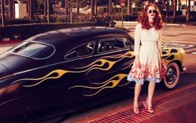 Картинка машина, девушка, платье, очки, рыжая, Jessica Chastain, Джессика Честейн