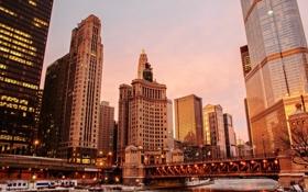 Картинка лед, зима, вода, снег, закат, город, Чикаго