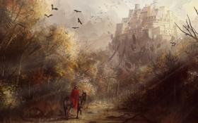 Обои пейзаж, лошадь, замок, девья, всадник, арт, плащ