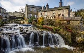 Картинка река, Англия, дома, поток, пороги, England, Йоркшир