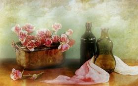 Картинка цветы, бутылки, натюрморт
