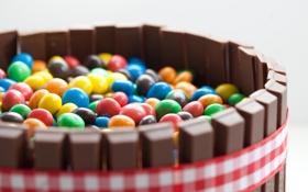 Обои цветные, палочки, конфеты, лента, корзинка, разные, шоколадные