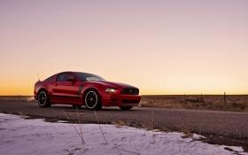 Картинка дорога, закат, mustang, мустанг, ford, форд, босс
