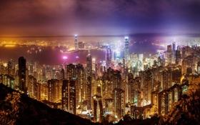 Картинка пейзаж, ночь, огни, дома, мегаполис