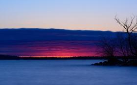 Обои закат, река, небо