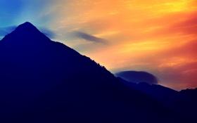 Обои небо, облака, закат, горы, силуэт, зарево