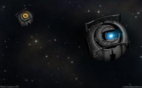 Обои Звезды, Робот, Космос, Portal 2, Уитли