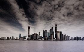 Обои город, дома, Китай, Shanghai, мегаполис, Lan Ni Du