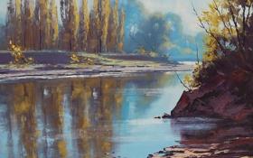 Картинка осень, вода, деревья, природа, отражение, река, арт