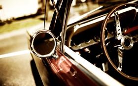Обои car, машина, авто, стекло, крупный план, стиль, ретро