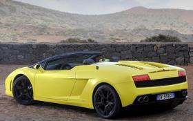 Обои ограждение, кабриолет, вид сзади, спайдер, ламборгини, lamborghini gallardo lp560-4 spyder, галлардо лп560-4