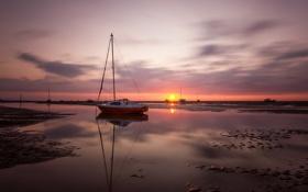 Картинка море, пейзаж, закат, корабль, мель