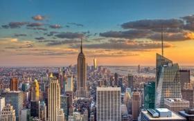 Обои skyline, sunset, new york, usa