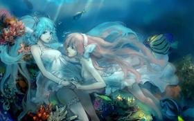 Картинка рыбы, девушки, наушники, кораллы, арт, vocaloid, hatsune miku