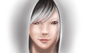 Обои взгляд, девушка, улыбка, блондинка, капюшон, art, forgotten-wings