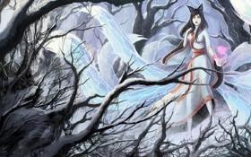 Обои лес, ahri, ушки, девушка, хвосты, art, league of legends