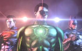 Обои свет, batman, superman, green lantern, лазерный целеуказатель