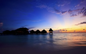 Картинка море, небо, закат, вечер, Мальдивы, бунгало
