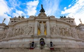 Картинка небо, облака, скульптура, италия, рим, площадь Венеции, Витториано