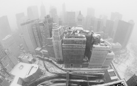 Обои зима, здания, new-york