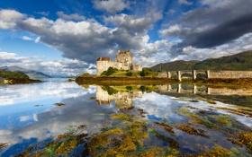 Картинка горы, мост, озеро, замок, Шотландия, Dornie