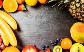 Обои фрукты, fresh, fruits, ассорти