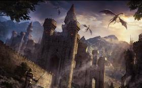Картинка замок, дракон, средневековье, крестоносец