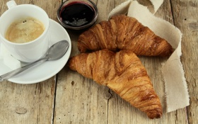 Обои breakfast, кофе, джем, croissant, завтрак, выпечка, круассан