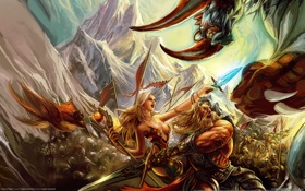 Обои воин, волшебница, против, с мечом, runes of magic, монстра