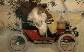 Картинка осень, ретро, собака, картина, автомобиль, Ramon Casas