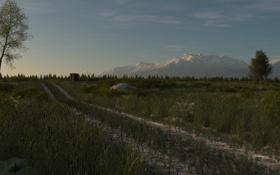 Обои дорога, поле, трава, деревья, горы, арт, постройка